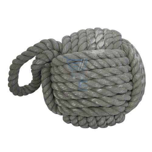 Rope door stop heavy weight stopper rope ball grey cream tonal blue nautical ebay - Knot door stopper ...