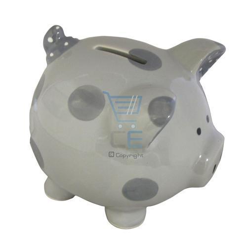 Grey piggy bank money box ceramic 16cm x 12cm spotted kids savings decoration ebay - Extra large ceramic piggy bank ...