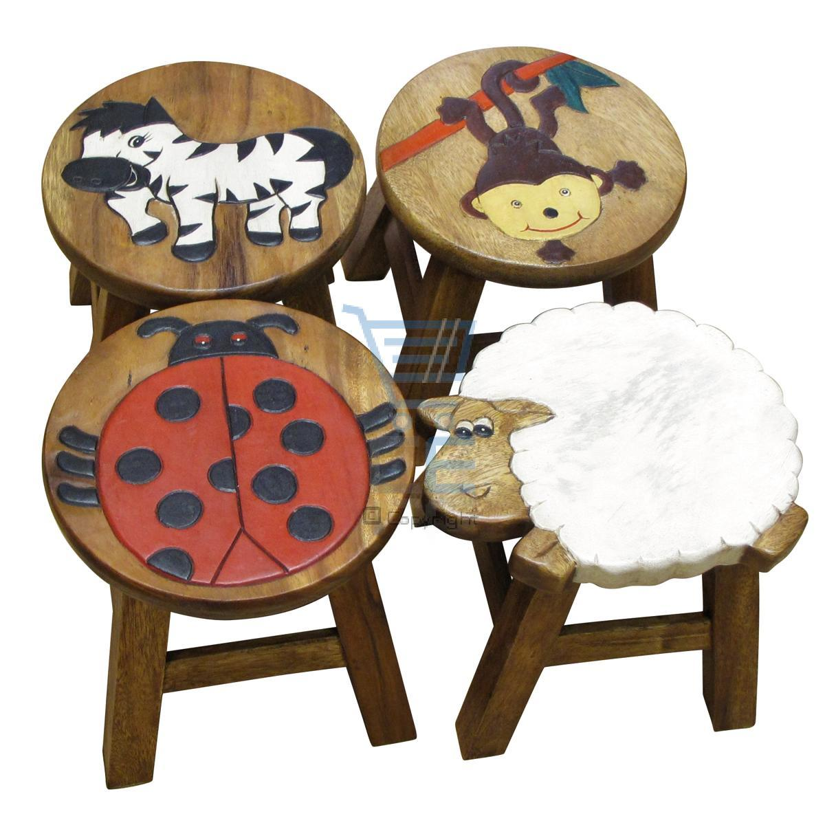 Apollo Kids Wooden Animal Foot Stool Ladybird Monkey Sheep Zebra 4