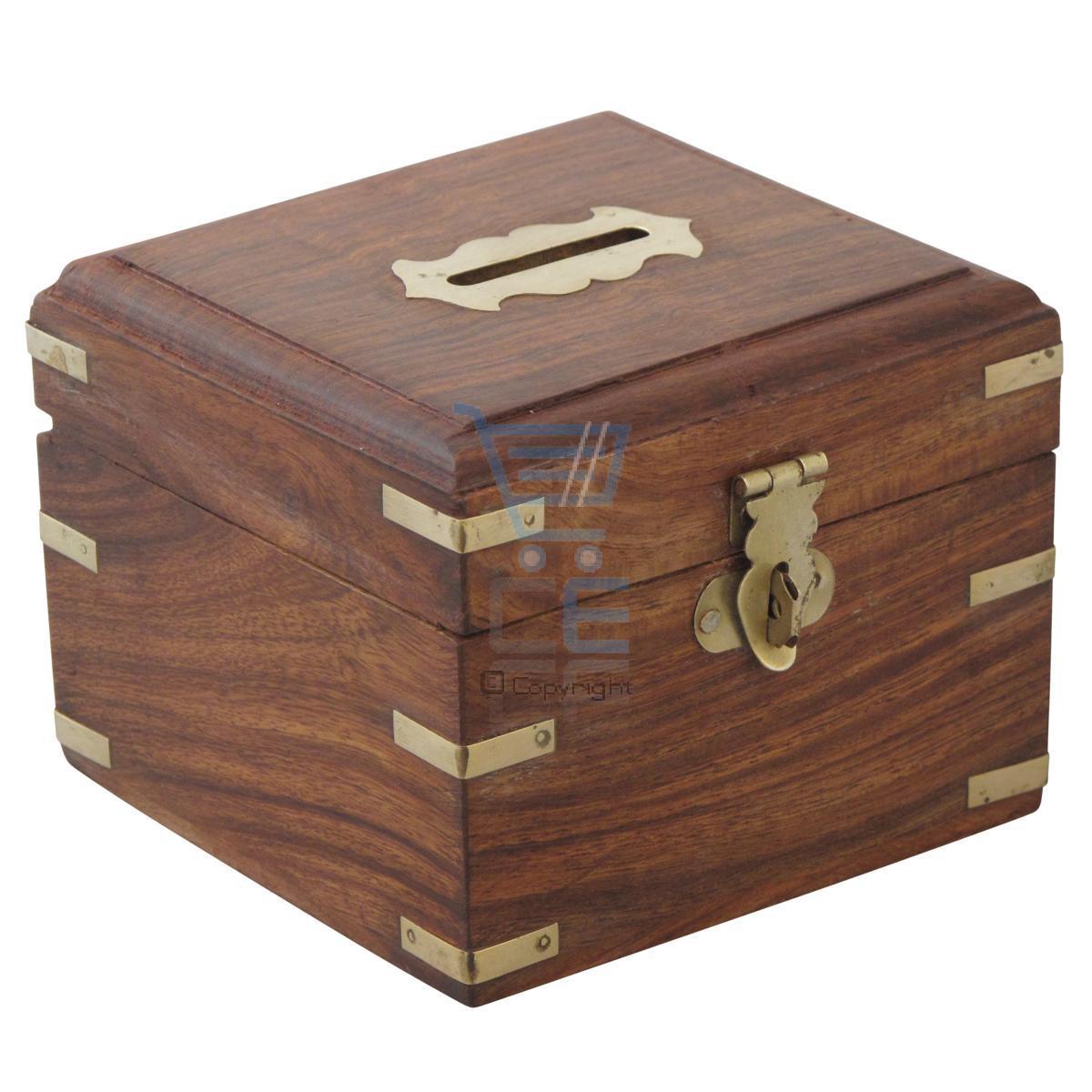 Wooden money box with brass corners handmade treasure for Home money box