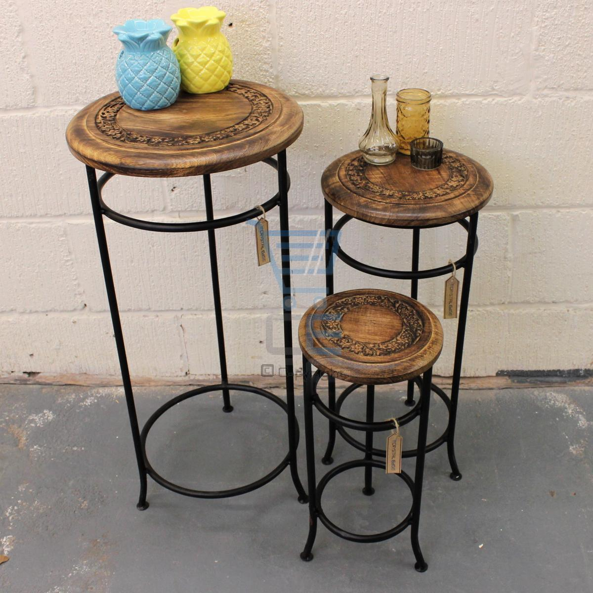 Set of occasional tables mango wood and iron plant stand