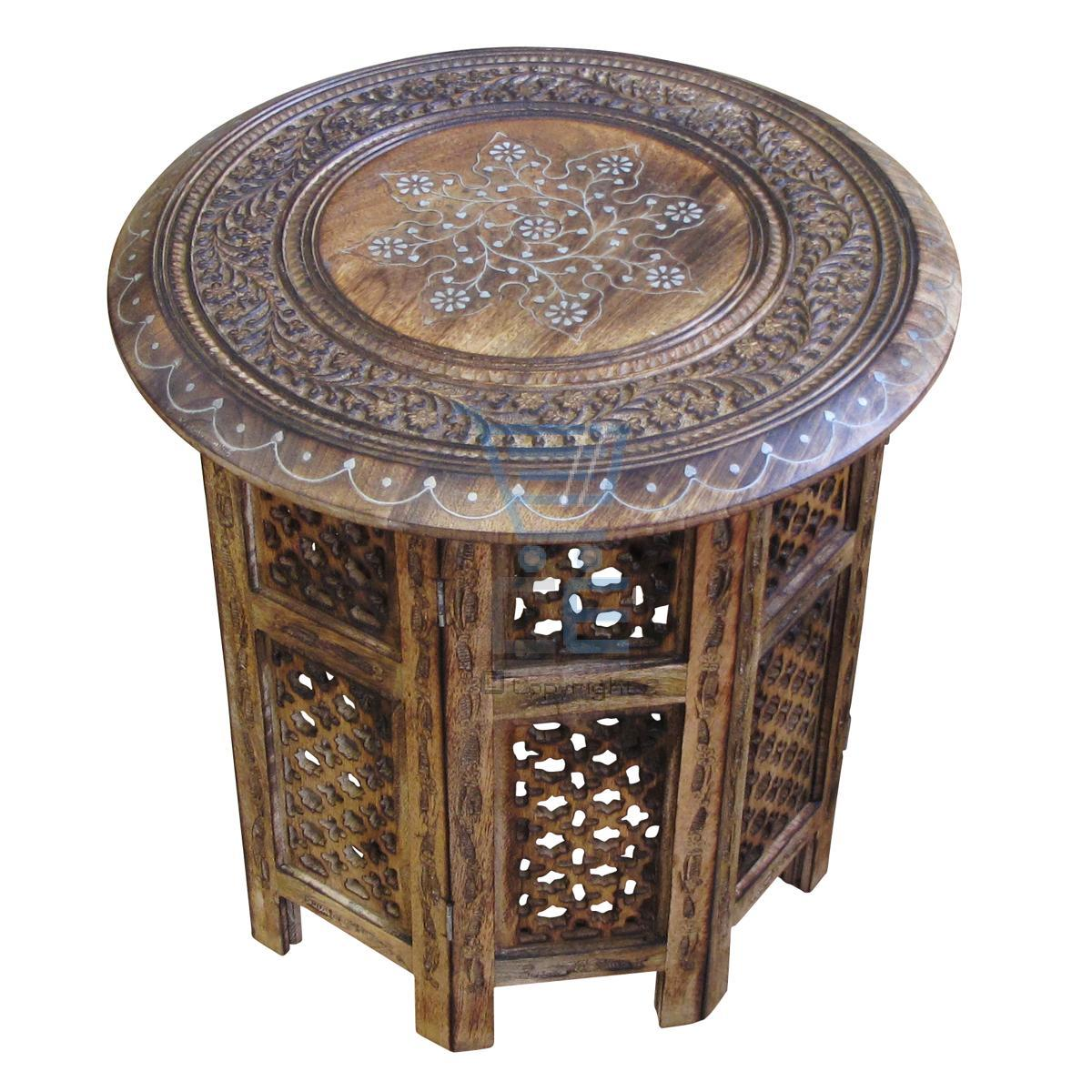 side table with aluminium inlay indian mango wood living room ebay