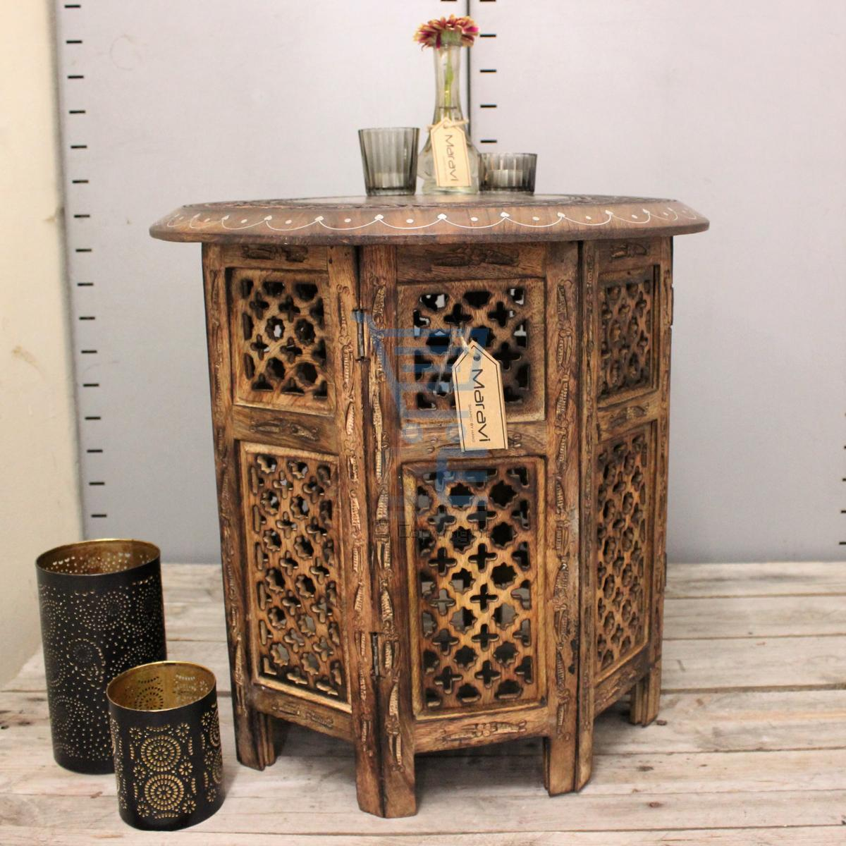 Indian Wood Coffee Table Uk: Large Side Table With Aluminium Inlay Indian Mango Wood