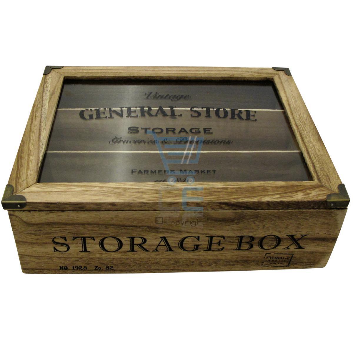 vintage g n ral 3 parties bo te de rangement en bois avec couvercle en verre ebay. Black Bedroom Furniture Sets. Home Design Ideas