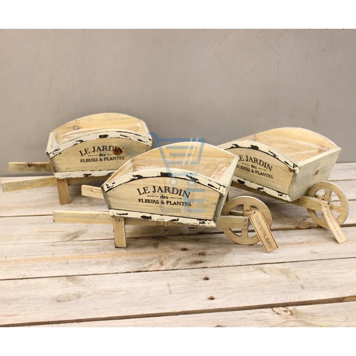 Set di 3 legno rustico cariola con vaso a fiori francese for Fioriera carriola