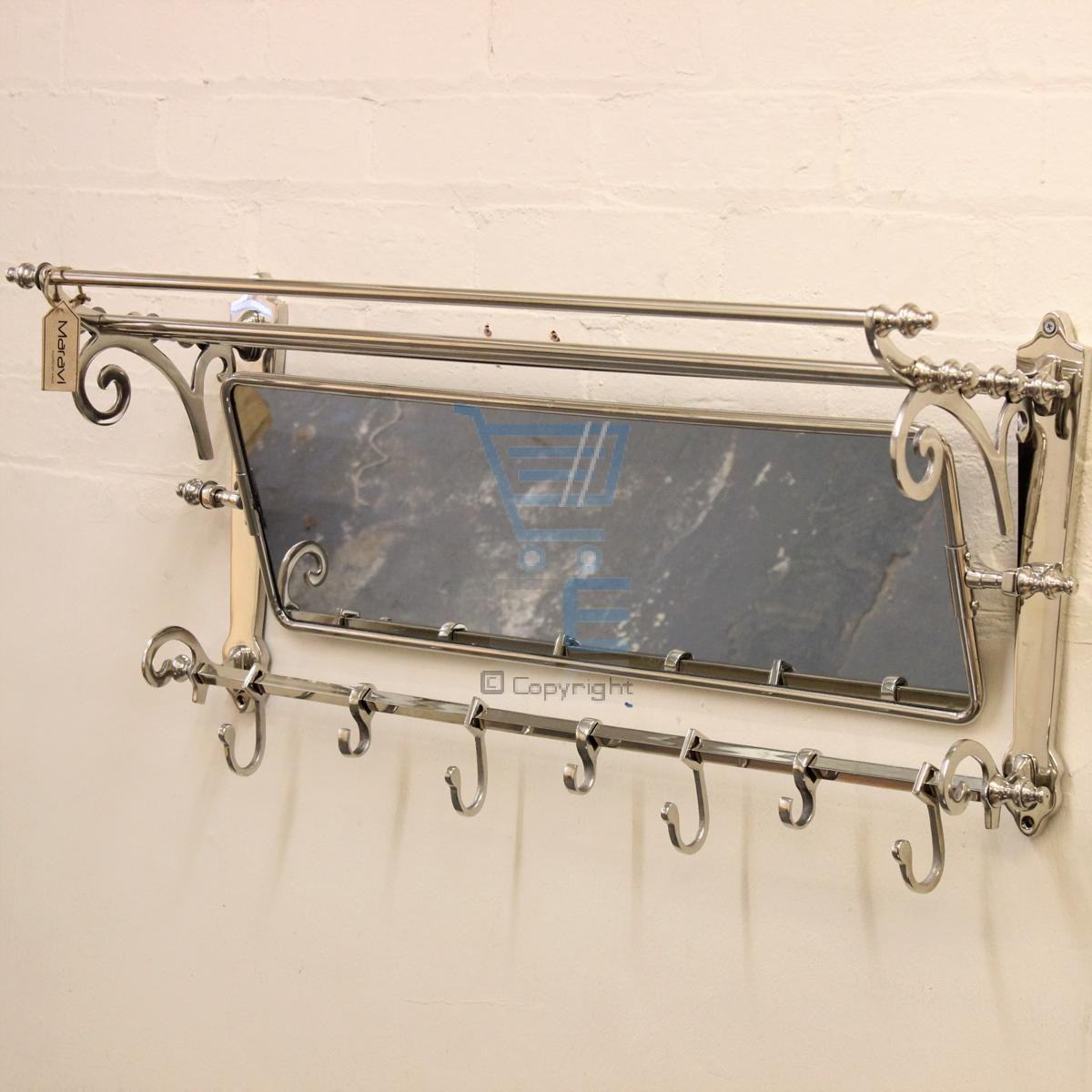 Maravi train rack with mirror coat hanger wall mounted 7 for Mirror hangers