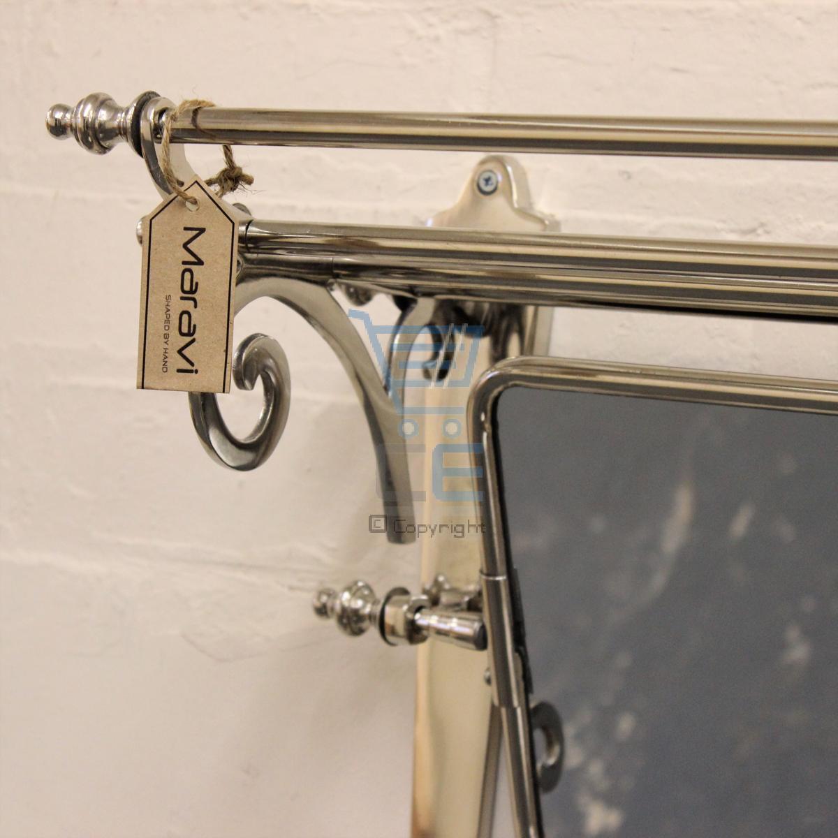 Maravi Train Rack With Mirror Coat Hanger Wall Mounted 7