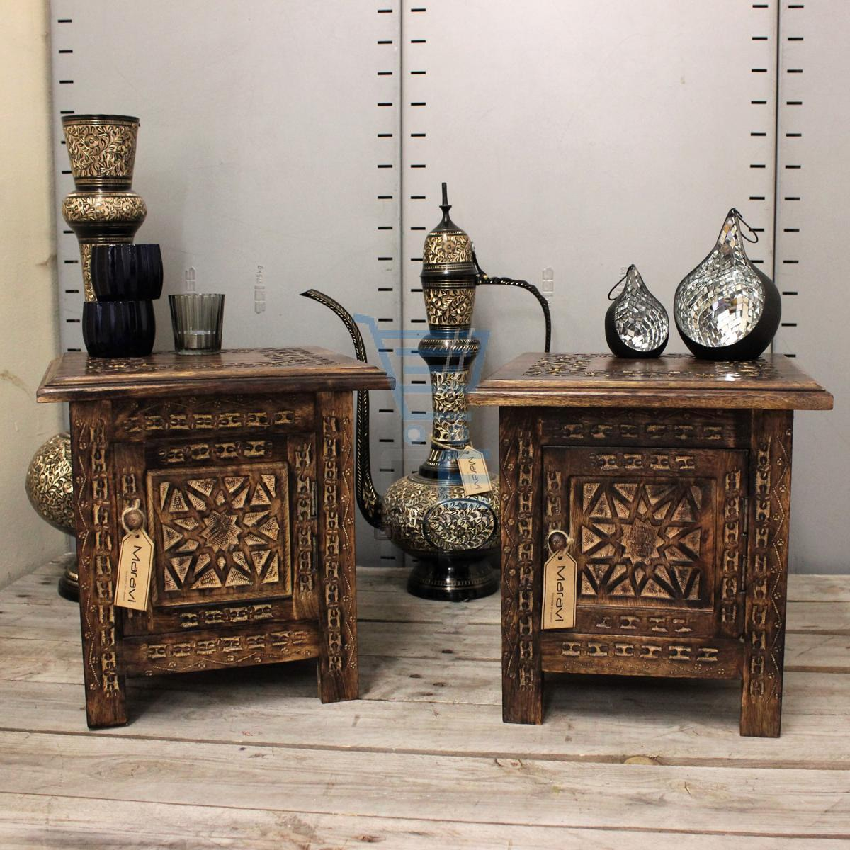 maravi set of 2 small square side tables moroccan style carving storage ebay. Black Bedroom Furniture Sets. Home Design Ideas