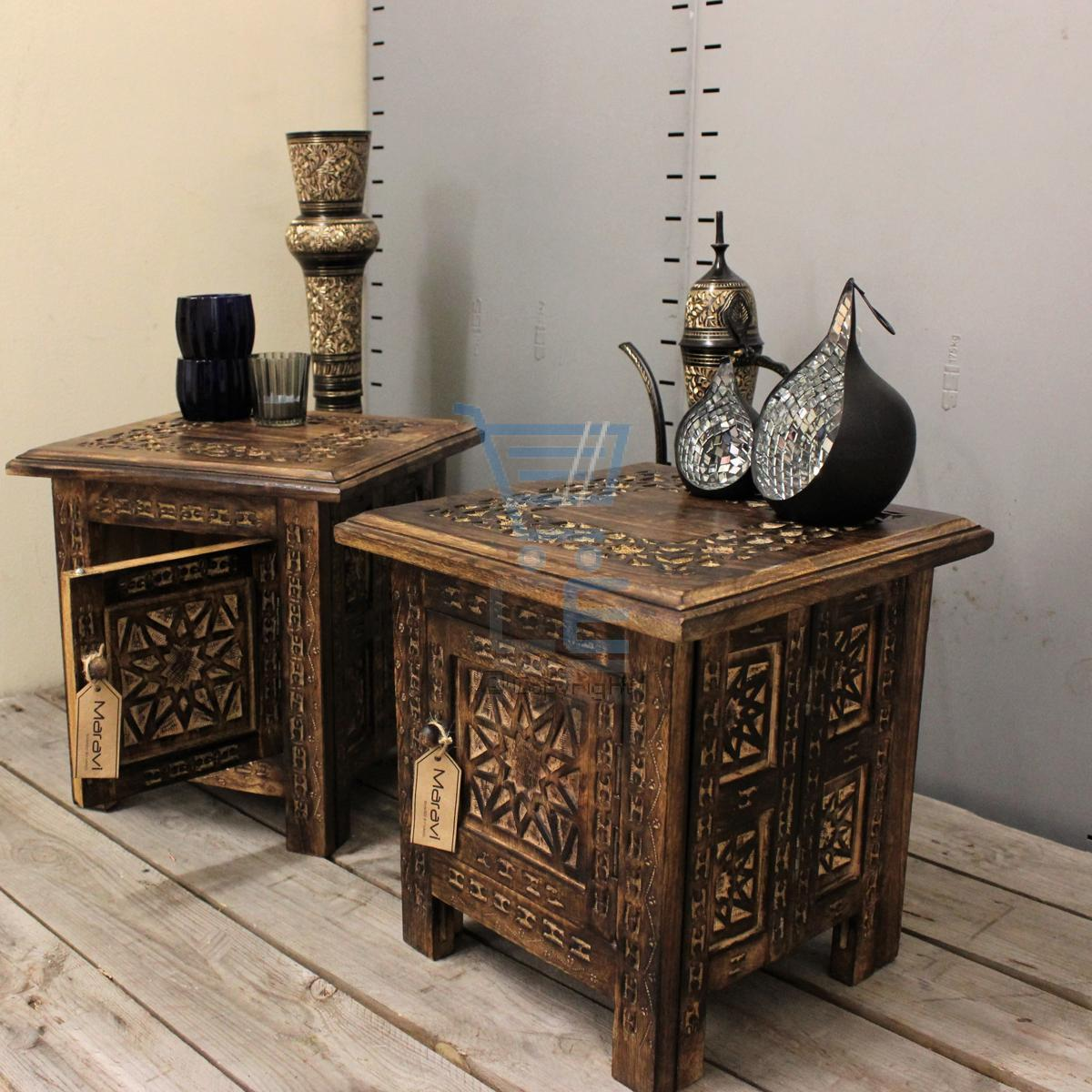 Maravi set of 2 small square side tables moroccan style carving storage ebay - Mobili marocchini ...