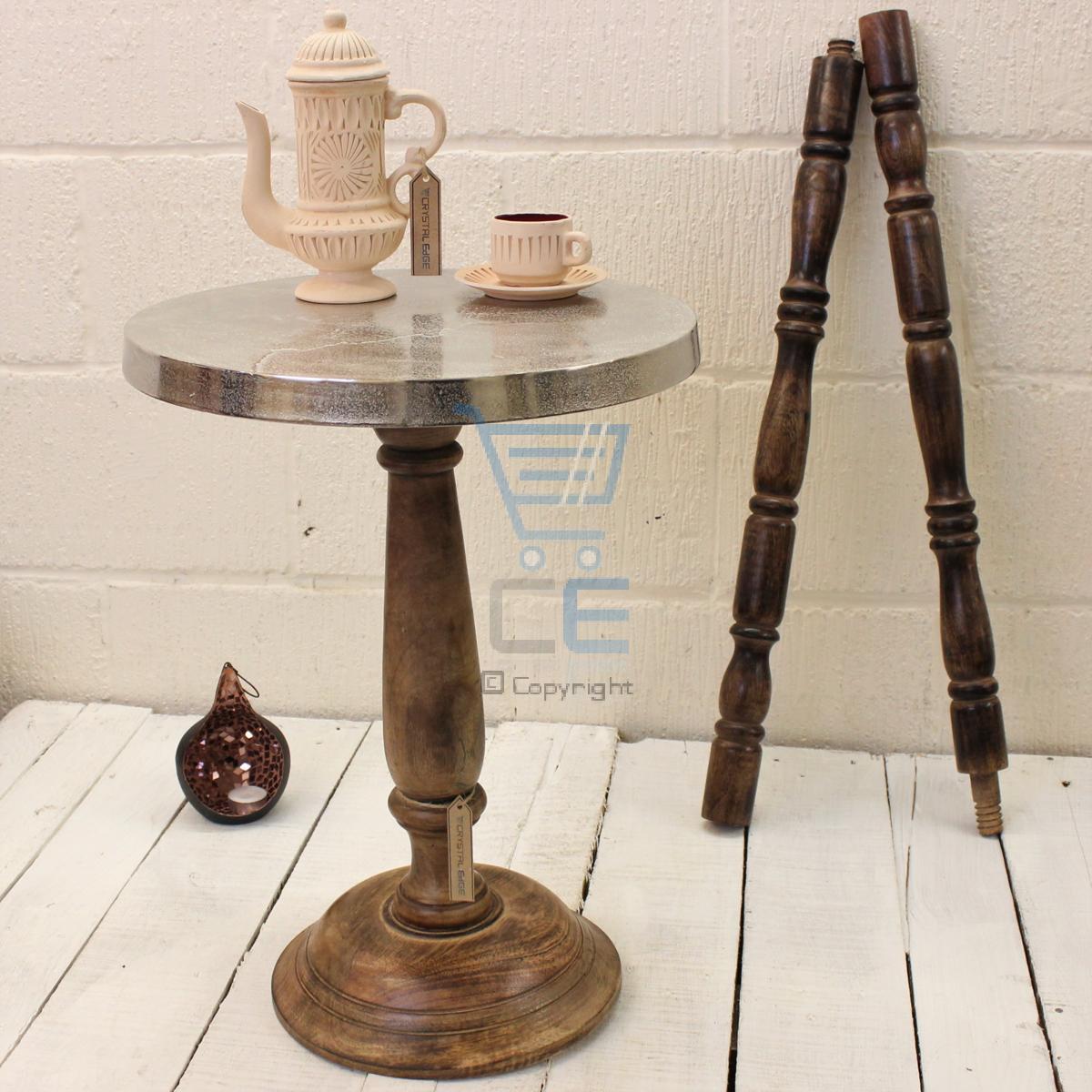 round aluminium side table mango wood pedestal rough cast shabby chic vintage ebay. Black Bedroom Furniture Sets. Home Design Ideas