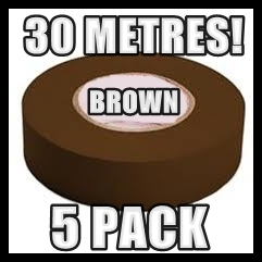 5 PACK ELECTRICAL BROWN INSULATING TAPE 19MMx30M PVC