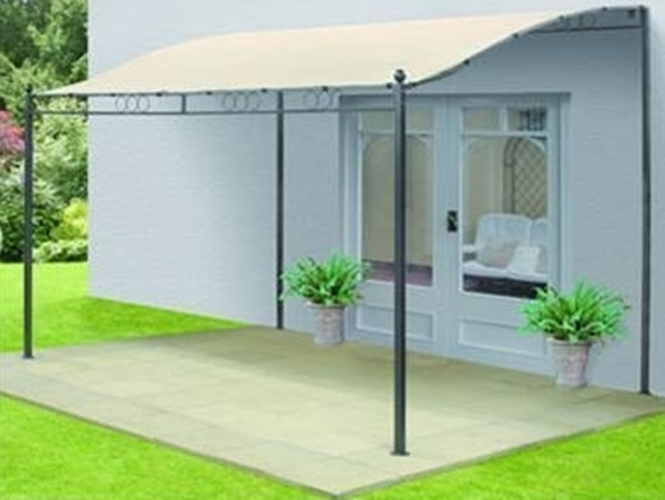 New Metal Wall Mounted Gazebo Awning 3mx3m Garden Patio Ebay