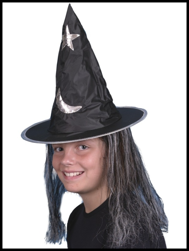 CHILDS BLACK HALLOWEEN WITCH HAT WITH SILVER/GREY HAIR  Enlarged Preview