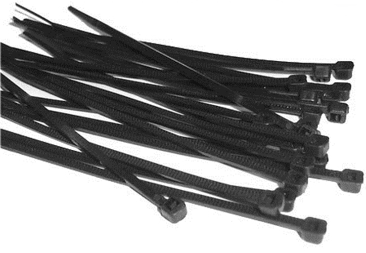 BLACK CABLE TIES 300 X 4.8mm 200 PACK QUALITY TIE WRAPS