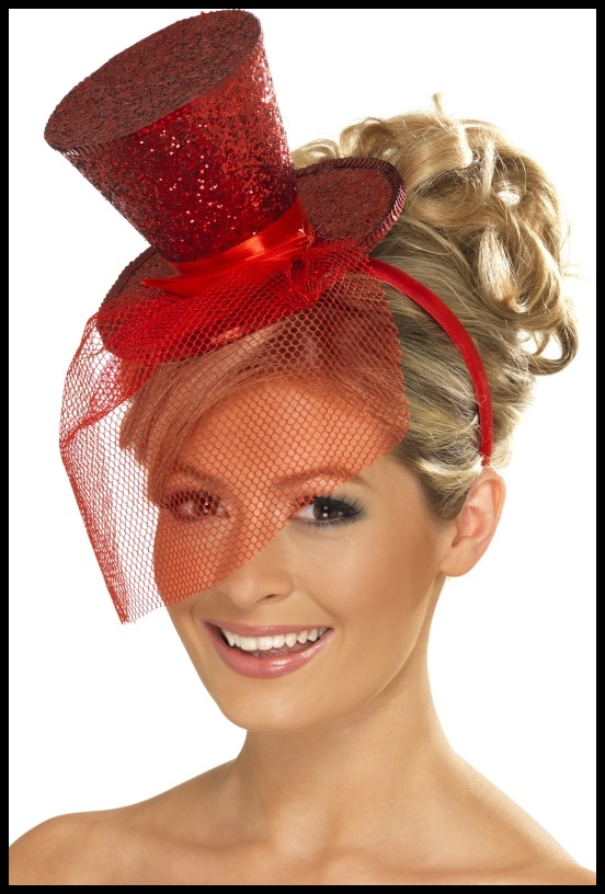 NEW RED MINI TOP HAT ON HEADBAND LADIES FACINATOR Enlarged Preview
