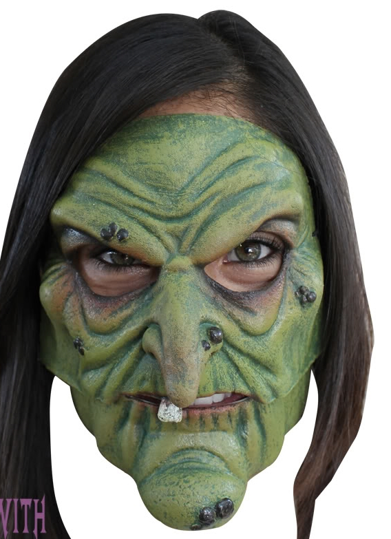 Scary green face witch, designed with hat and hair. Mo Fang Gong She Halloween Horror Enchantress Costume Party Props Witch Green Face Sorceress Mask by Mo Fang Gong She.