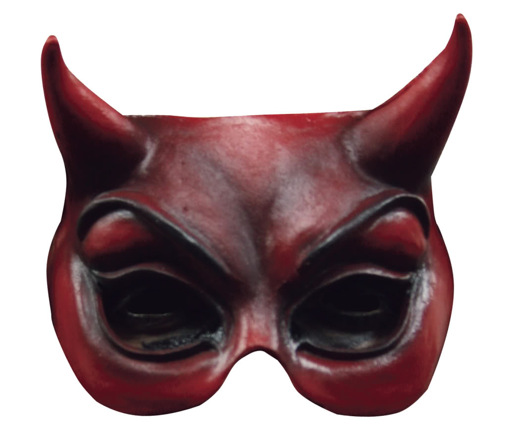 HALF FACE MASK EVIL RED CAT STYLE EARS UNISEX HALLOWEEN PARTY MASK ...