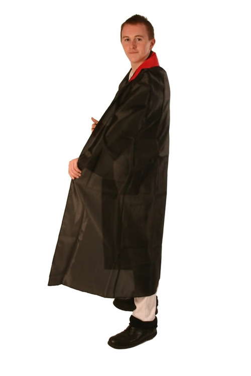 Cloak Full Length with Stand Up Collar Satin Black with Red Collar Enlarged Preview