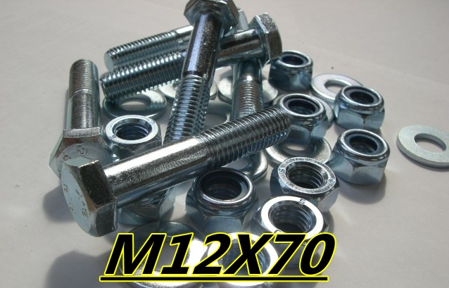 M12 X 70mm SETSCREW BOLT HIGH TENSILE STEEL WASHER NUTS 10 PACK Enlarged Preview