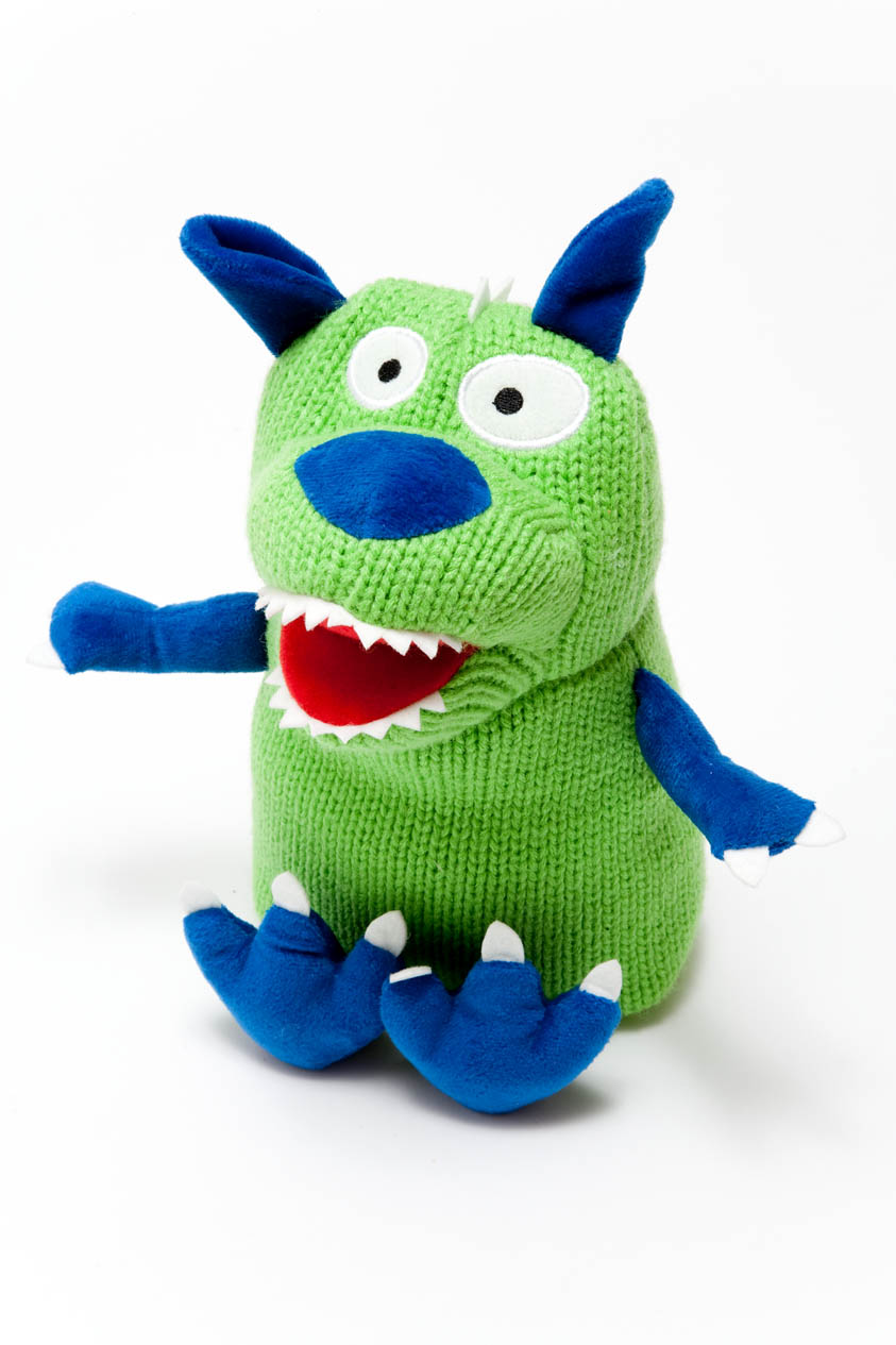 Blue Baby Toys : Knitted monster green blue baby toy teddy ebay