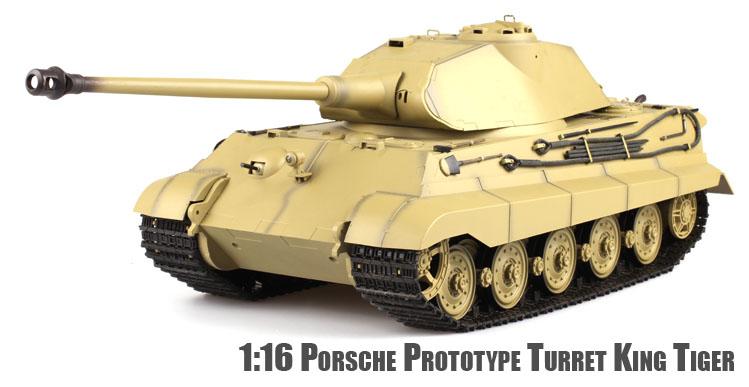 1 16 Heng Long Premium King Tiger Porsche Turret Radio