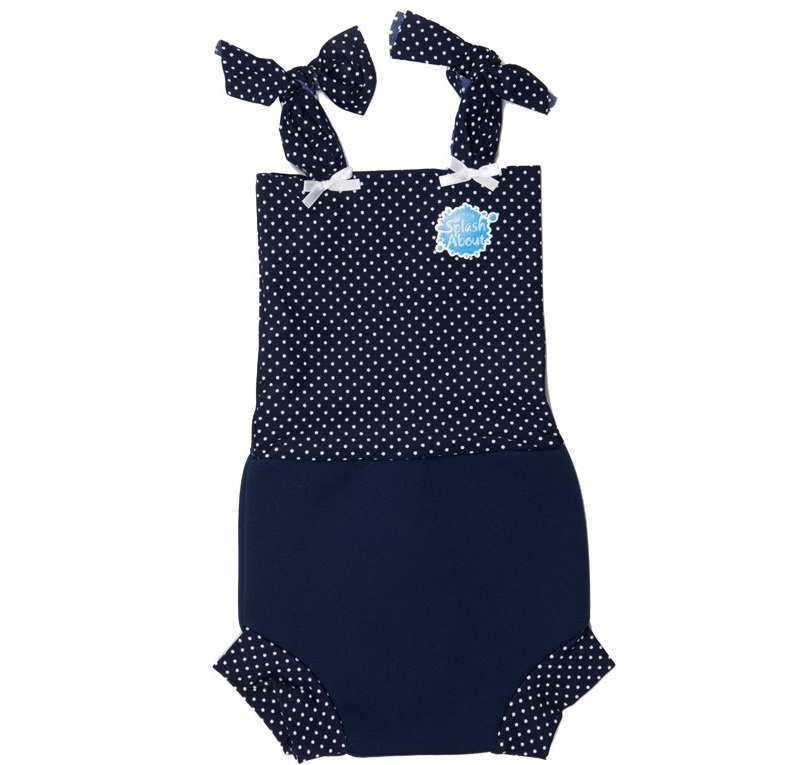 SPLASH ABOUT BABY SWIMSUIT NAPPY & SUN SAFE HAPPY NAPPY SWIM COSTUME NAVY DOT Enlarged Preview