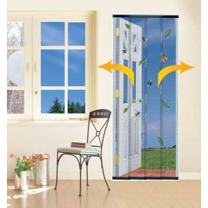 4-PIECE-WALK-THROUGH-FLY-INSECT-MESH-DOOR-CURTAIN-SCREEN-BLACK-WHITE-AVAILABLE