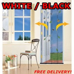 4 PIECE WALK THROUGH FLY INSECT MESH DOOR CURTAIN SCREEN BLACK / WHITE AVAILABLE Enlarged Preview