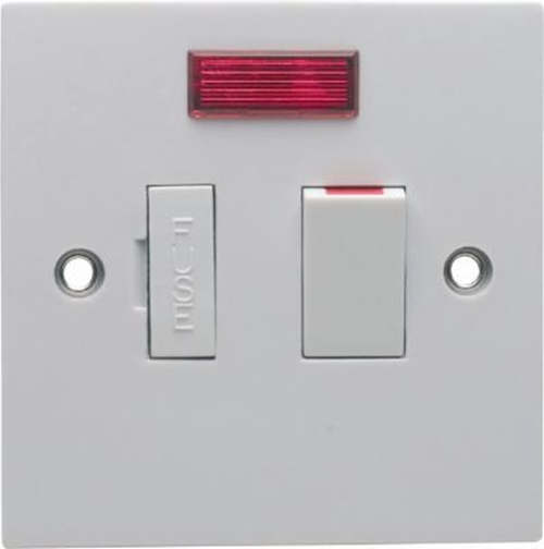 13 Amp White Switched Fused Spur Connection Unit With Neon