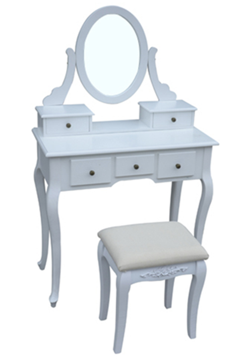 NEW WHITE DRESSING ROOM TABLE WITH MIRROR AND STOOL