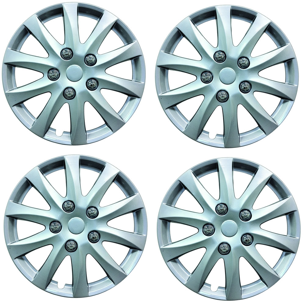 Alloy Sport Look Set 4 X 14 Inch Silver Wheel Cover Trim