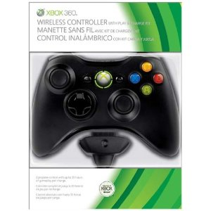 official xbox 360  Wireless Controller plus Play and Charge Kit black Enlarged Preview