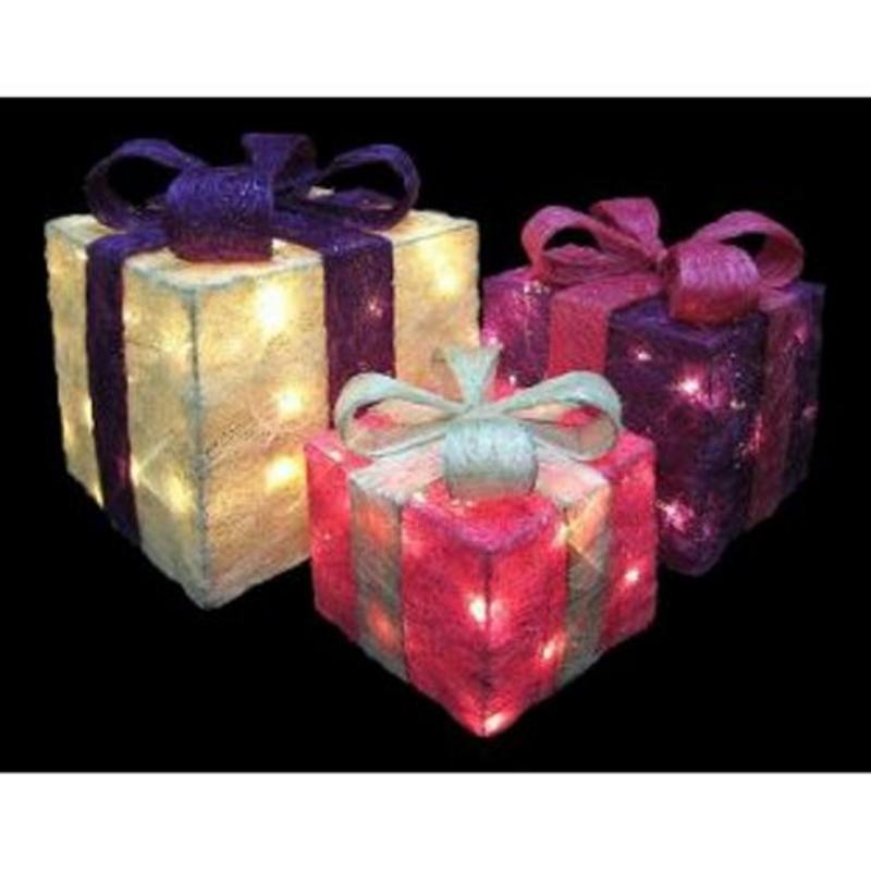 Set Of 3 Light Up Gift Parcels Purple Cream Pink Rrp 163 34