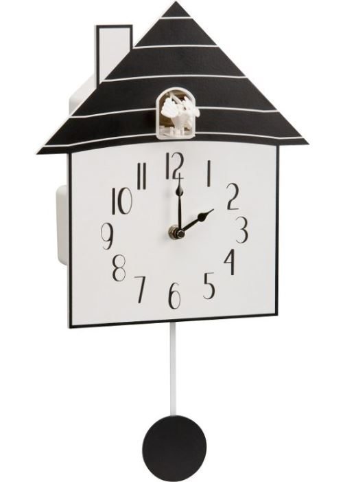 Modern Black Wooden Cuckoo Wall Clock Black And White Rrp