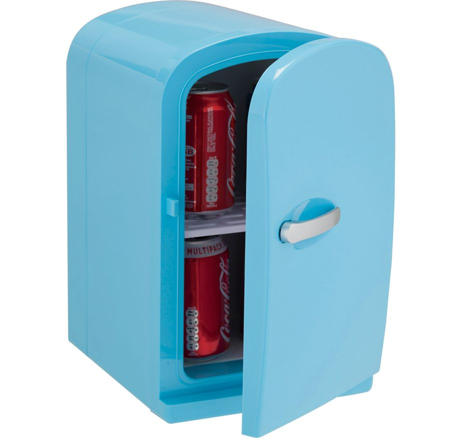 6 litre blue mini travel fridge with handle rrp lot for Mini frigo design