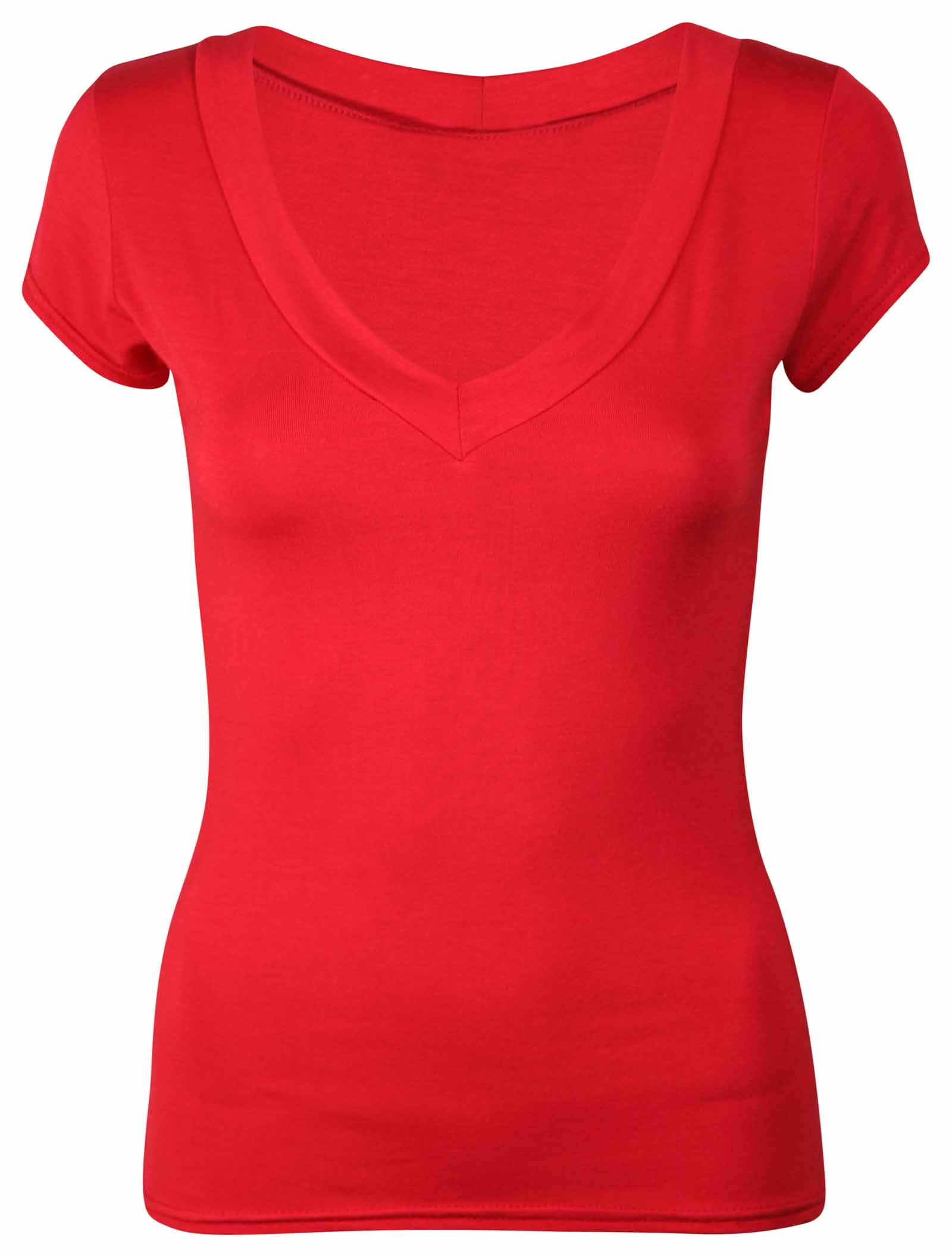 Ladies Short Cap Sleeve Plain Top Womens New Stretch