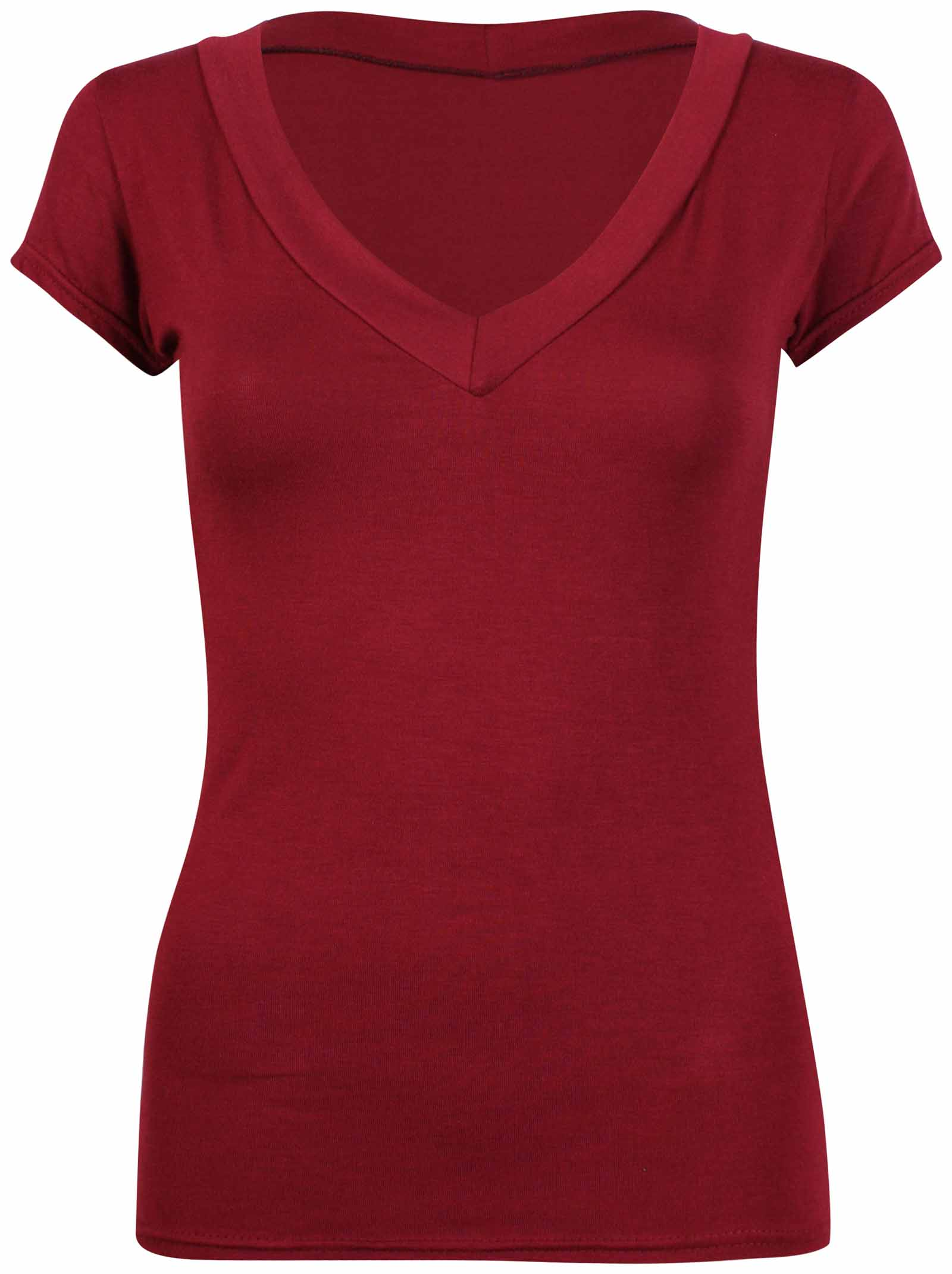 Ladies-Short-Cap-Sleeve-Plain-Top-Womens-New-Stretch-Fitted-V-Neck-Basic-T-Shirt