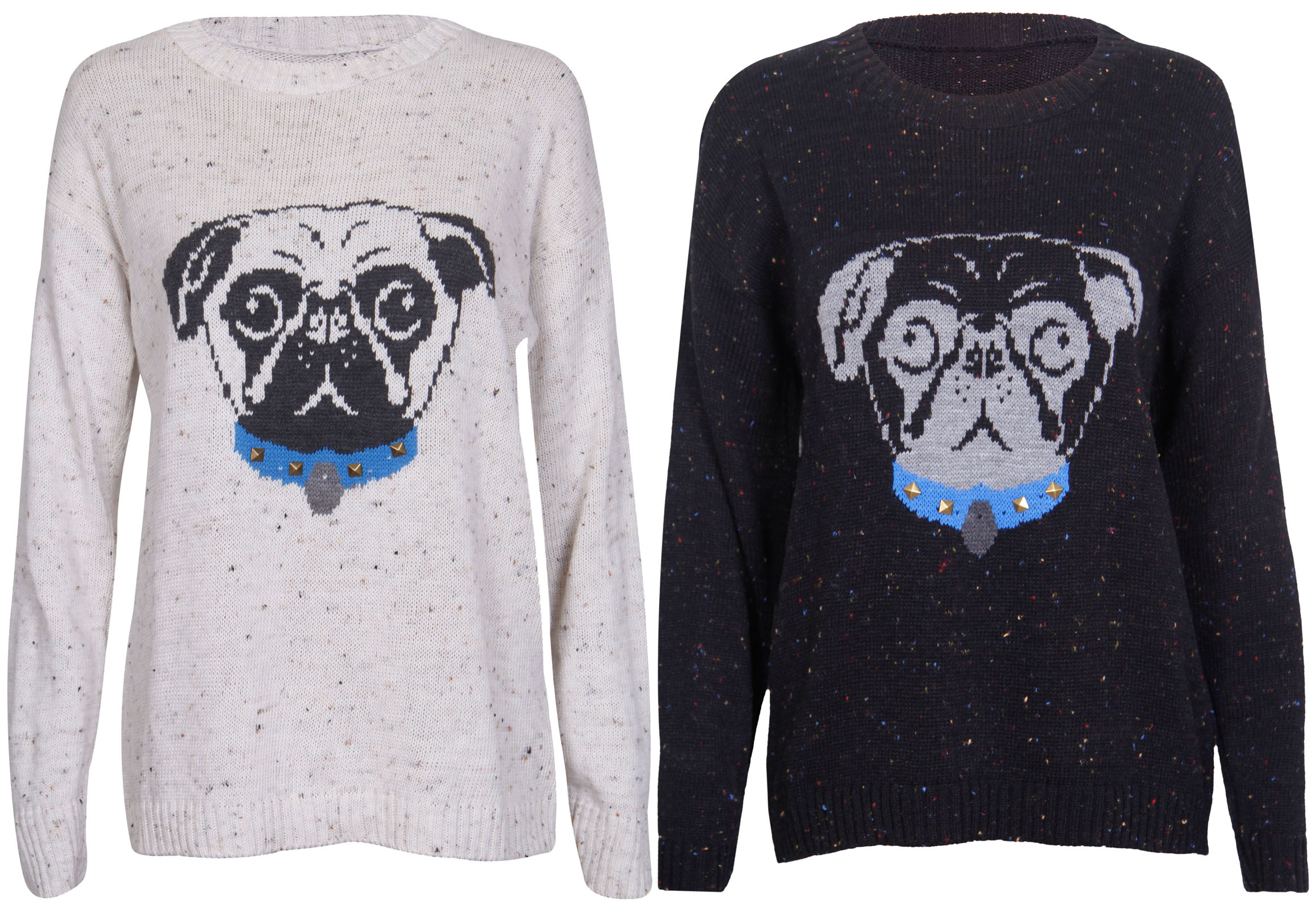 Knitting Pattern For Pug Jumper : Womens New Long Sleeve Pug Dog Print Knitted Stretch Sweater Studded Jumper T...