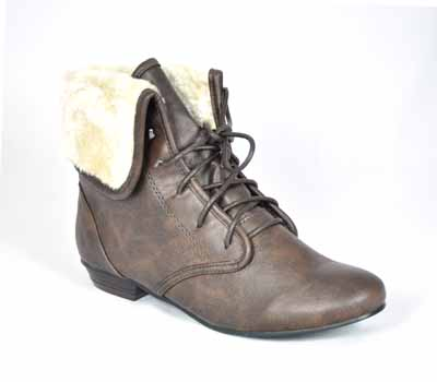 brown ankle lace up fur army womens pixie boots ebay