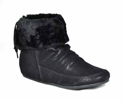 black suede lace fur collar ankle pixie boots ebay