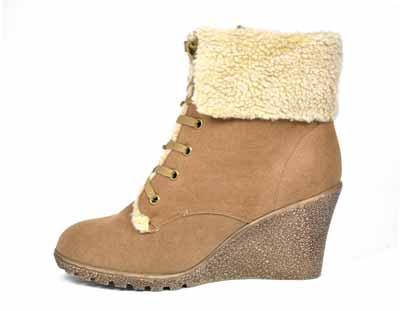 brown suede wedge ankle boots womens fur collar ebay