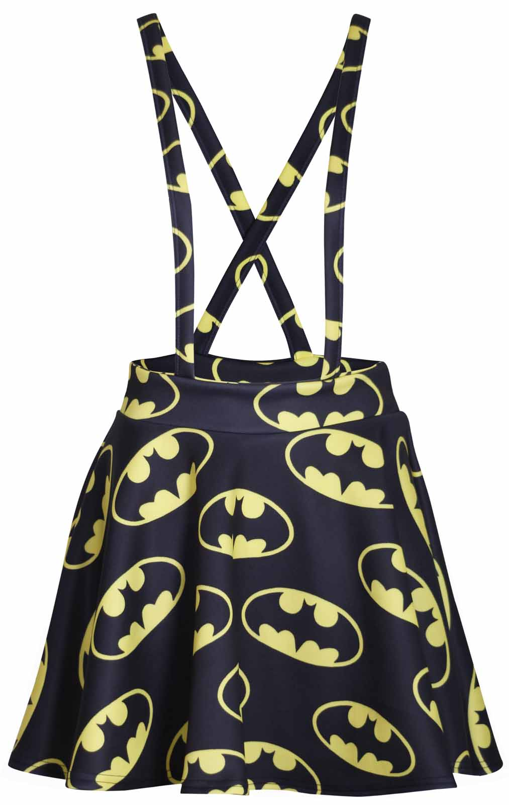 damen kleiderrock latzrock neu batman logo comic aufdruck mini skater ebay. Black Bedroom Furniture Sets. Home Design Ideas
