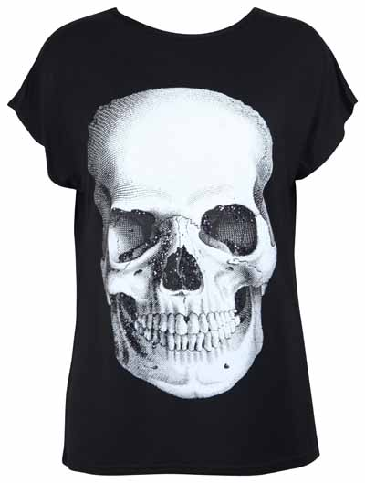 WOMENS-BLACK-BATWING-SLEEVE-STRETCH-TOP-LADIES-WHITE-SKULL-PRINT-GLITTER-T-SHIRT