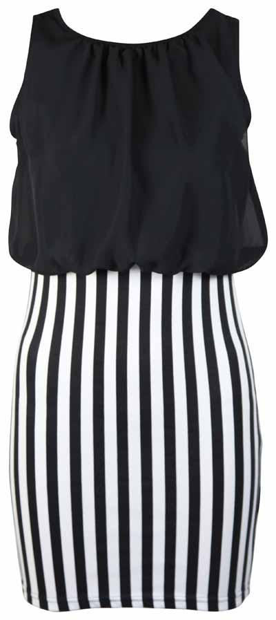 Womens sleeveless chiffon ladies black white vertical stripe print