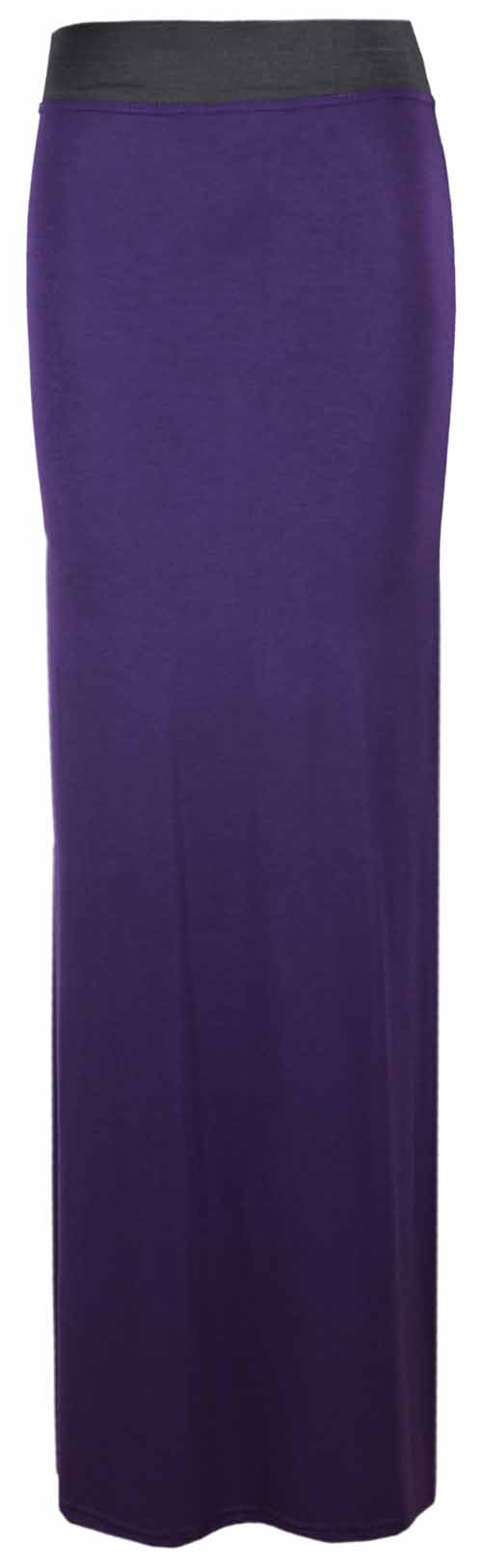 WOMENS-CONTRAST-ELASTIC-WAIST-LADIES-LONG-STRETCH-MAXI-DRESS-FULL-LENGTH-SKIRT