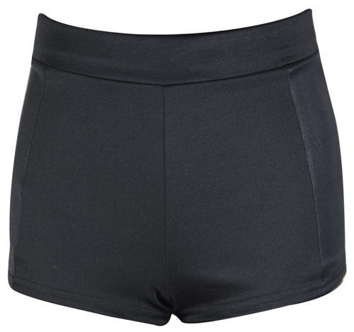 New Ladies Black Panel Stretch Hot Pants Womens Zip Shorts ...