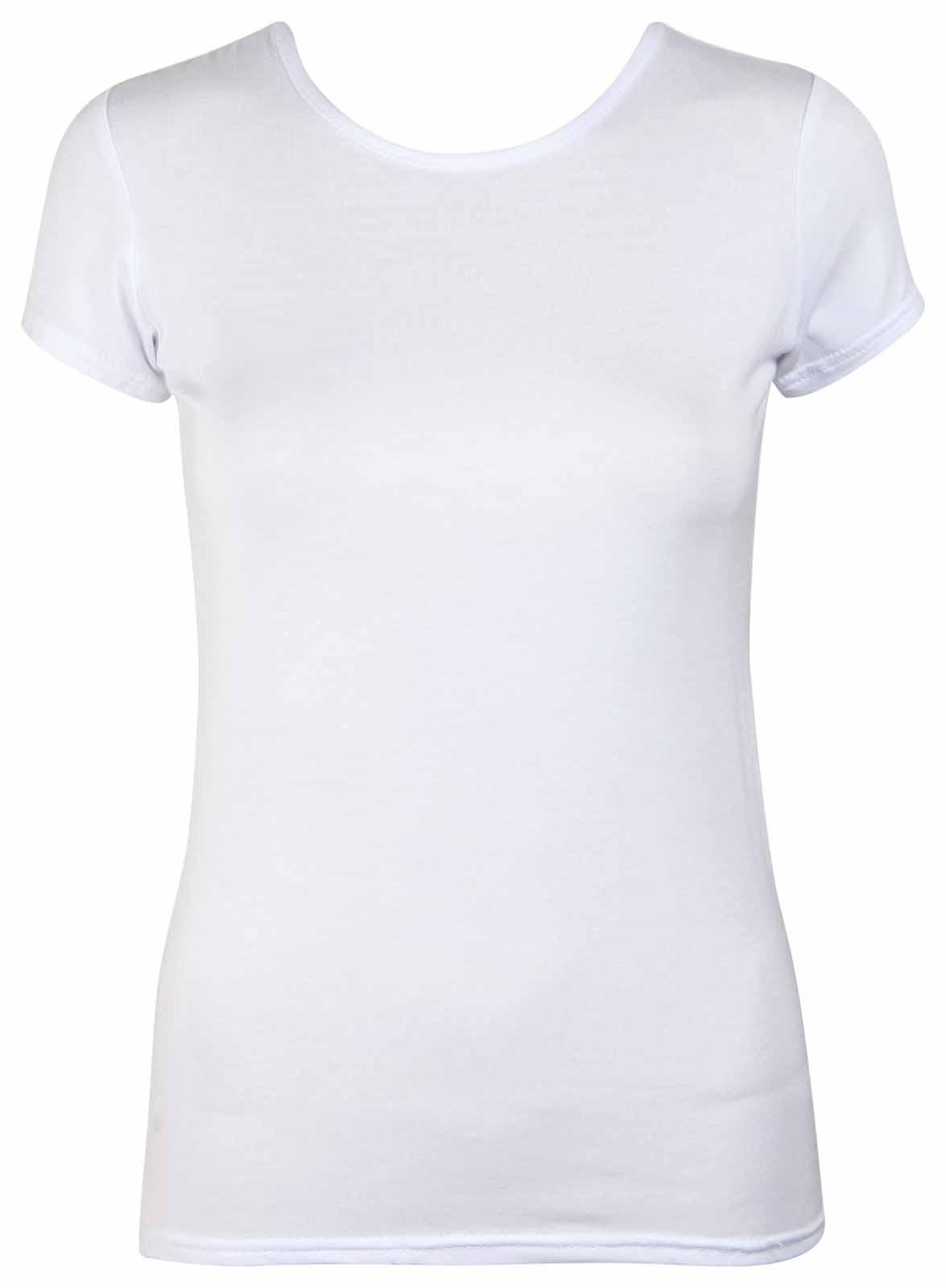 Womens new plain stretch fit crew neck top ladies short for Crew neck t shirt women