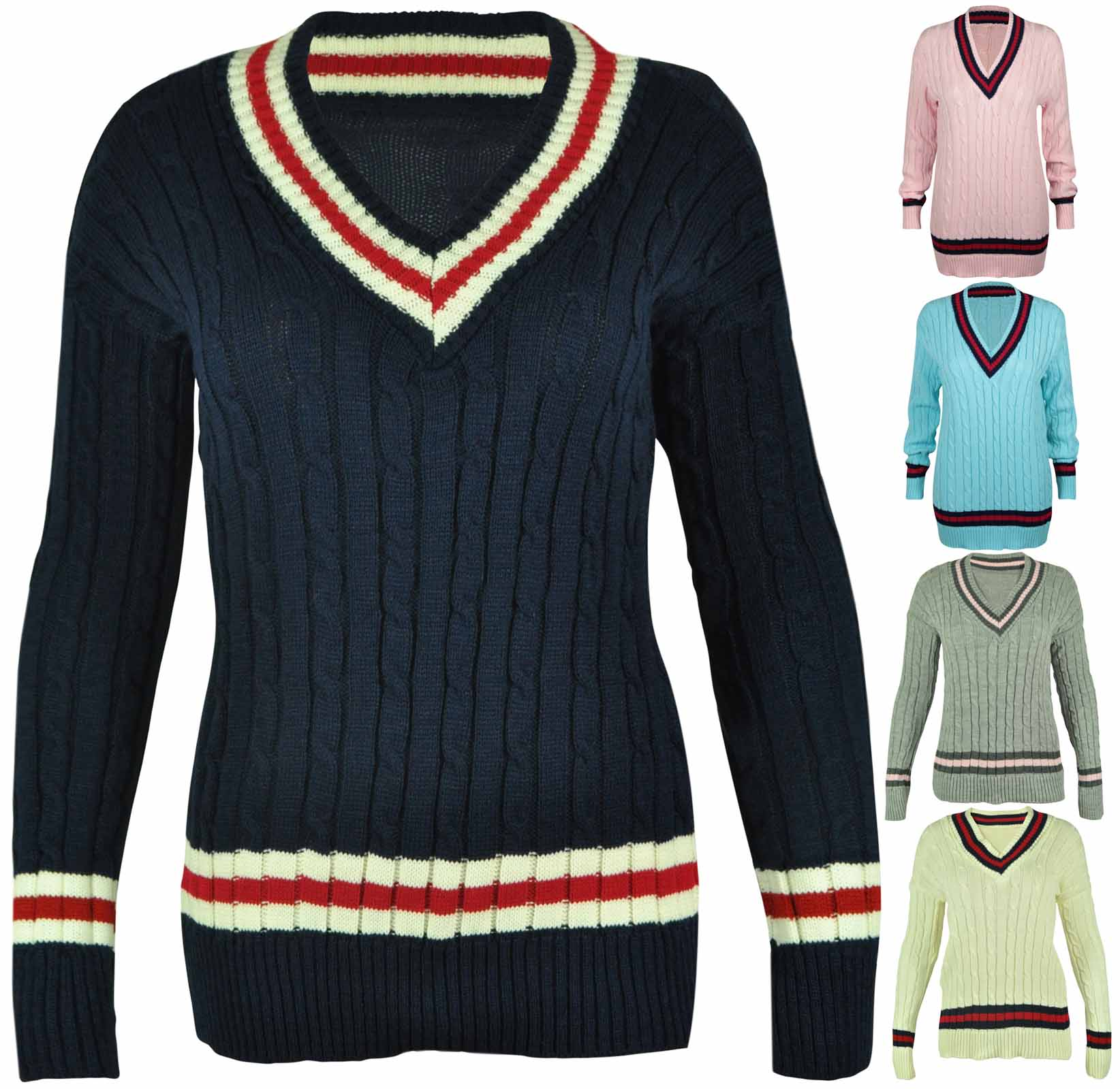 NEW LADIES V NECK CABLE KNITTED CRICKET JUMPER WOMENS STRETCH LONG TOP SIZE 8-16