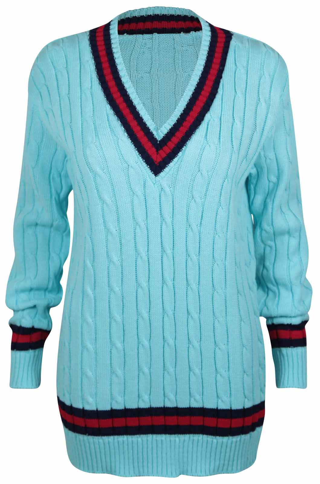 Knitting Pattern Cricket Jumper : NEW LADIES V NECK CABLE KNITTED CRICKET JUMPER WOMENS STRETCH LONG TOP SIZE 8...