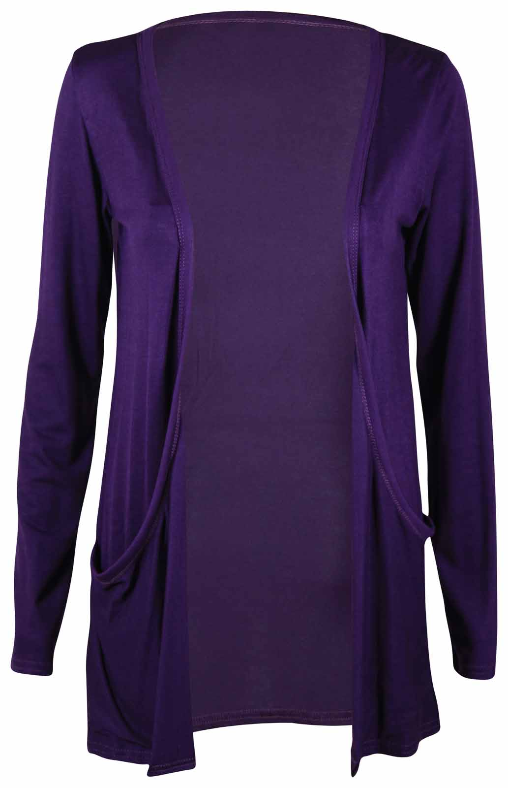 WOMENS-NEW-LONG-SLEEVE-STRETCH-CARDIGAN-LADIES-FOLDED-POCKET-OPEN-TOP-SIZE-16-22